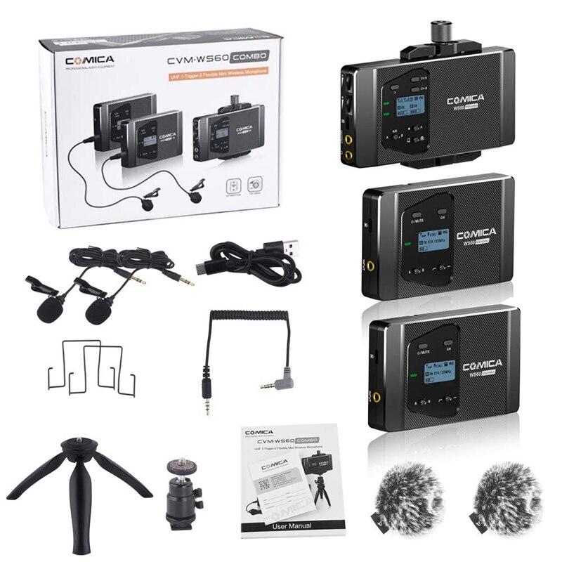 Comica Cvm Ws60 Mini Drahtlose Mikrofon System (Zwei Sender Ein Empfänger) für Smartphones und Kameras, uhf 12 Kanäle 60 M