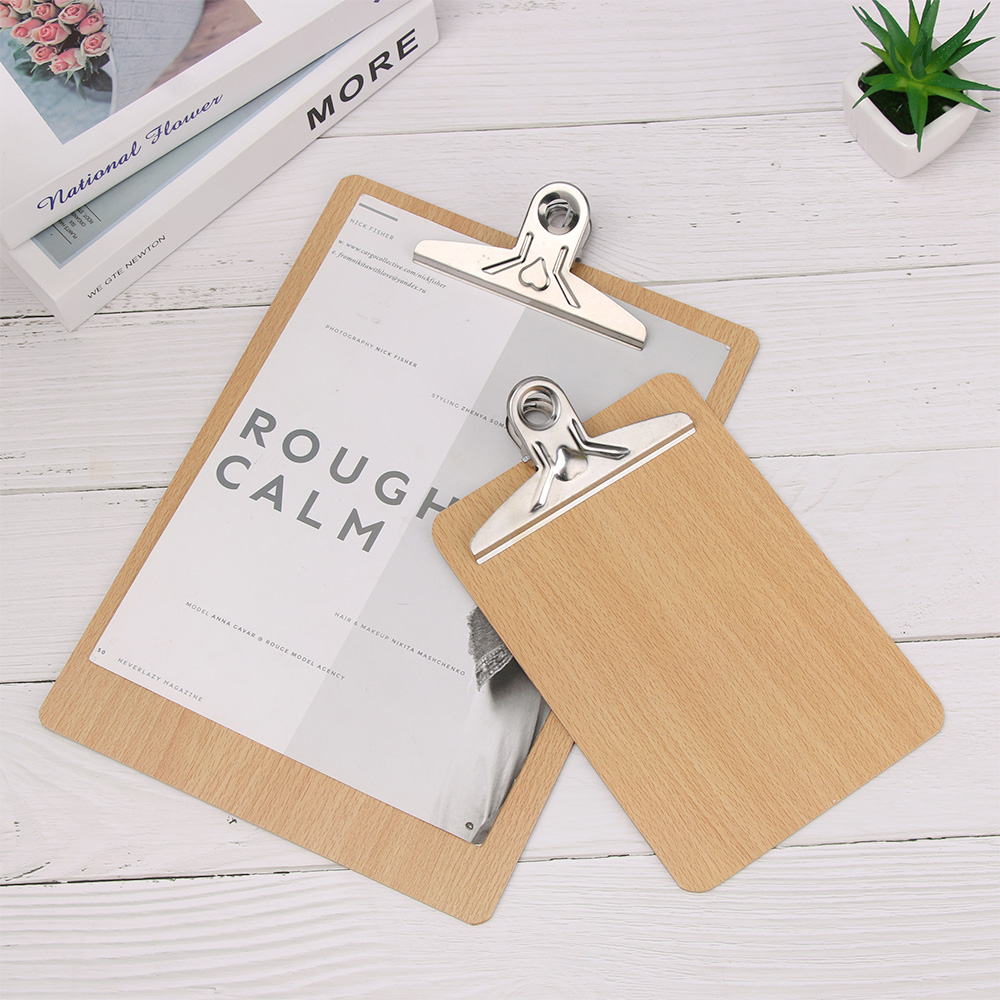 Wooden Clipboard A4 A5 Wood Clips Writing Sheet Pad Students Note Board Storage Folders Clips Office Restaurant Hotel Supplies