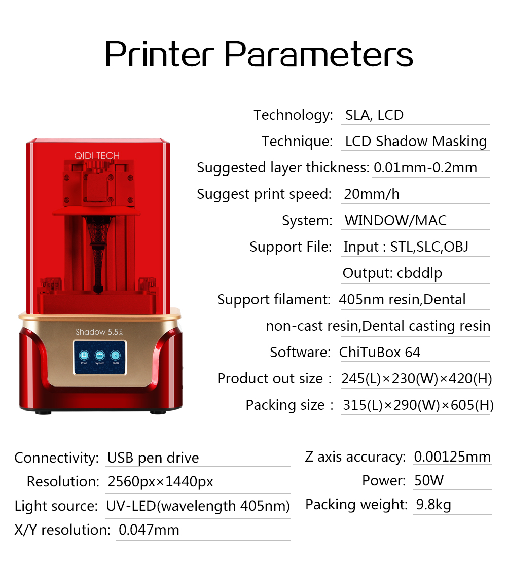 QIDI TECH resin LCD 3D Printer,Shadow 5.5 S , UV LCD Resin Printer