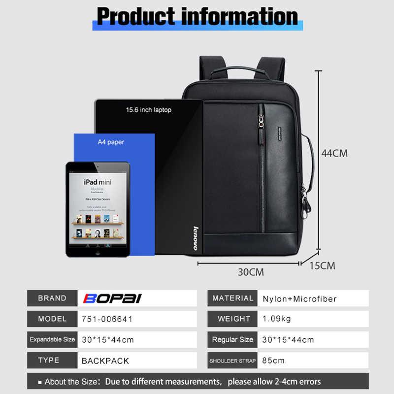 BOPAI אנטי גניבה להגדיל תרמיל USB חיצוני תשלום 15.6 אינץ מחשב נייד תרמיל גברים עמיד למים בית ספר תרמיל שקיות עבור נער