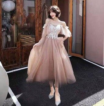 Elegant Coffee Formal Party Off Shoulder Dress Female Bling Short Mesh Cheongsam Half Sleeve O-neck Robe De Soiree Qiapo