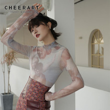 CHEERART Sheer T Shirt Women Turtle Neck Mesh Top Painting Print Long Sleeve Tee Femme Body Tight Underwear Fall Clothes