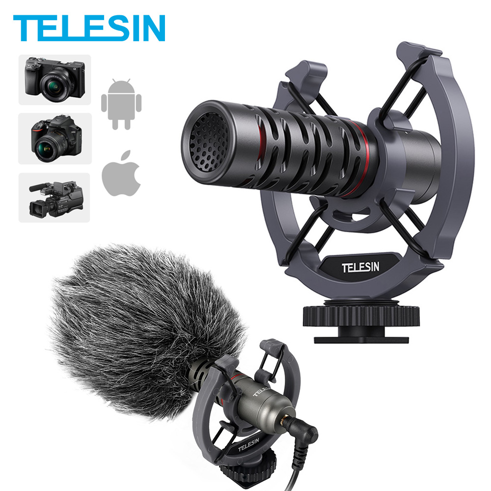 Telefone condensador microfone de vídeo na câmera shotgun vlogging universal microfone para iphone android canon sony dslr mac tablet