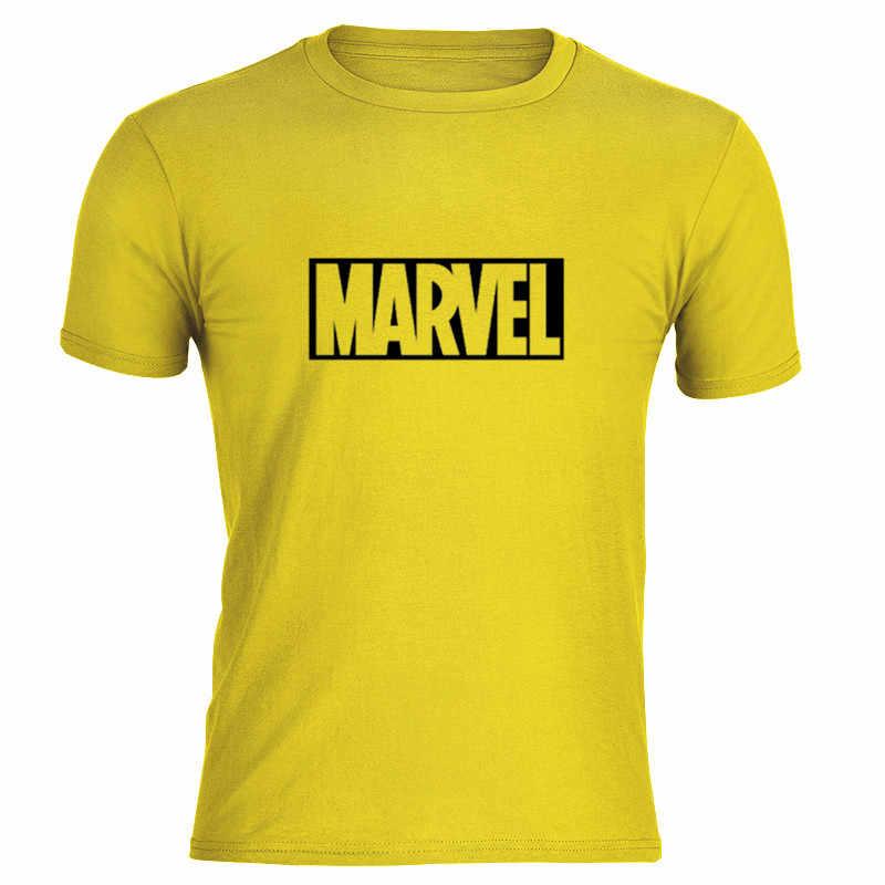 2019 Marvel Man เสื้อผู้หญิงคนรักผ้าฝ้าย Tees Casual ใหม่แฟชั่นสั้นแขนชายเสื้อยืดผู้ชาย Tops Tees นุ่มสีเหลือง