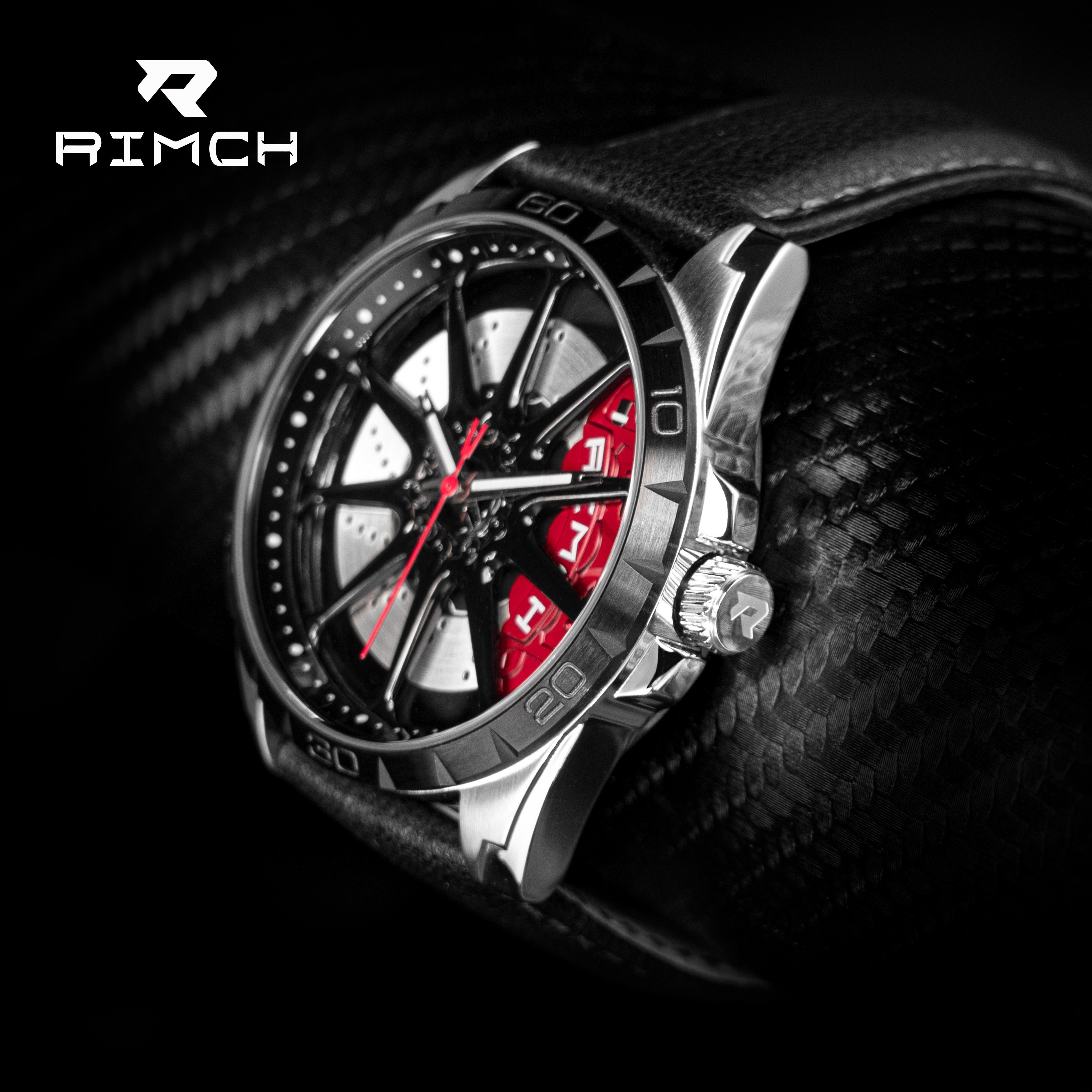 Rimch relógios men aro da roda hub super carro aço inoxidável à prova dwaterproof água legal 3d moda relógio de quartzo