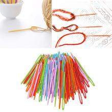 ¡Novedad de 100 Uds.! Tapiz de plástico colorido de 7cm con agujas para niños, hilo de lana para coser Binca DIY