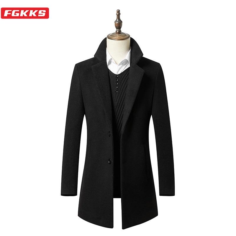 FGKKS Winter Brand Men Fashion Wool Coat Men's Solid Color Business Casual Coat New Windproof Wool Blends Coats Male