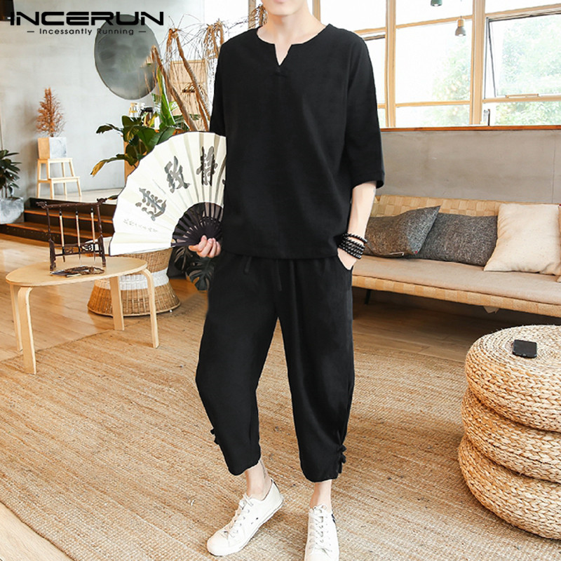 INCERUN Chinese Style Men Sets Cotton Solid Color Half Sleeve V Neck Shirts Drawstring Pants Vintage Men Casual Suits Streetwear