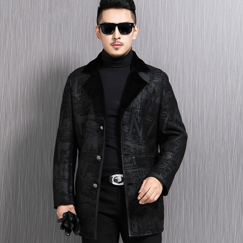 Genuine Jacket Jacket Men Winter Sheepskin Coat For Men Real Wool Lining Slim Fit Chaqueta Cuero Hombre 17L-105 KJ3849