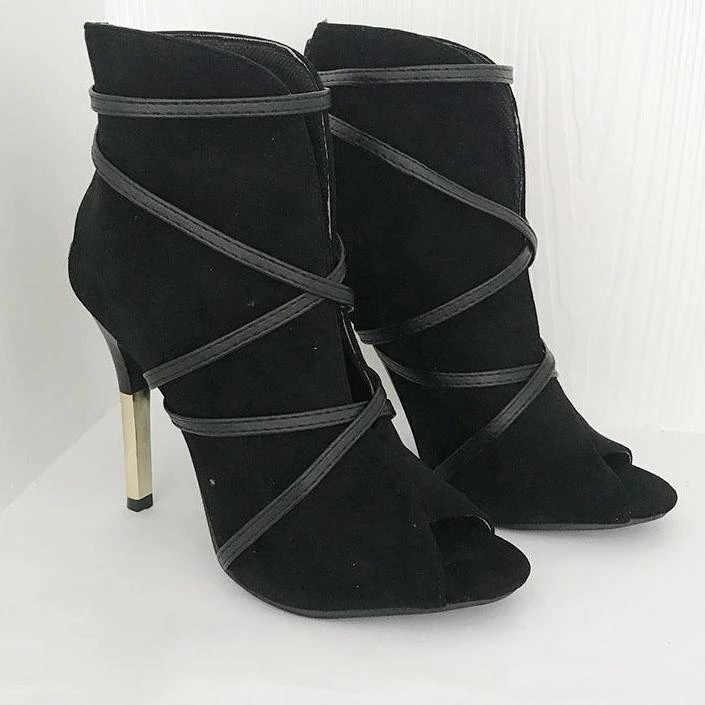 גבירותיי אופנה קרסול מגפי נשים הבוהן מחודדת פגיון העקב שרוכים מגפי נעליים יומיומיות אישה דק עקבים זמש אחת מגפיים