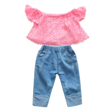 1-5T Little Girl Clothes Toddler Outfits Pink Lace Off the Shoulder Crop Top Blue Jeans Long Pants Children Clothes Girls Set rose off the shoulder long flared sleevess crop top