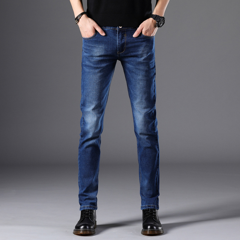 Spring 2020 New Stretch Jeans Men's Korean Version Of The Trend Of Youth Feet Pants Slim Trousers Men Smart Casual