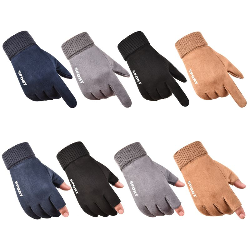 Mens Winter Thick Plush Lining Suede Stretch Gloves Touchscreen Thermal Ribbed Cuff Snow Ski Driving Sports Mittens Wrist Warmer