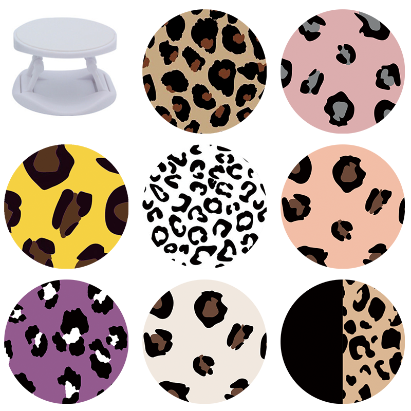 Leopard Print Expanding Phone Stand Grip Finger Ring Support Anti-Fall Round Foldable Mobile Phone Holder For Samsung A51 A50 S9