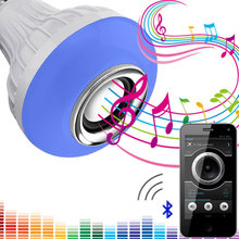 BRELONG LED Bulb Bluetooth Speaker, 6W E27 RGB Replacement Light Wireless Stereo Audio with 24-Key Remote Control