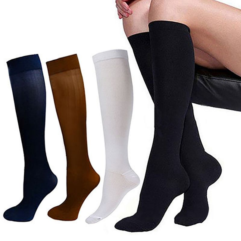 running - Multicolor pressure varicose veins leg compression socks relief pain knee sport socks support stretch breathable soccer socks
