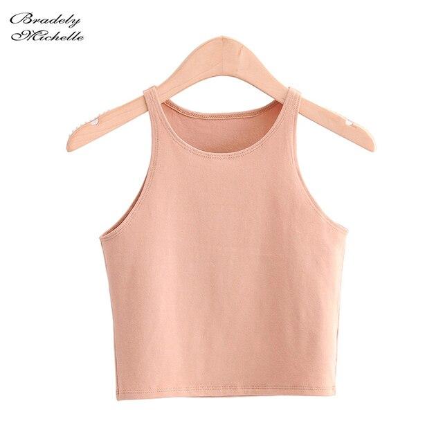 BRADELY MICHELLE 2020 Summer Sexy Women's Streetwear Crop Top Elastic Cotton sleeveless O-neck Solid Short Tank Bar 5