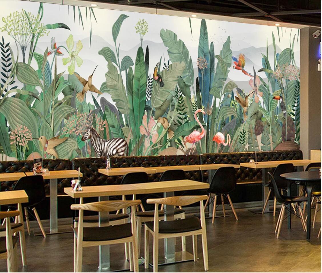 Dédouanement asie du sud-est tropicale murale oiseau zèbre bananier feuille papier peint sticker Mural HD Photo papier peint flamant rose - 3