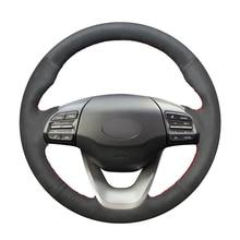 Hand Sew Black Suede Car Steering Wheel Cover for Hyundai Kona 2017 2018 2019
