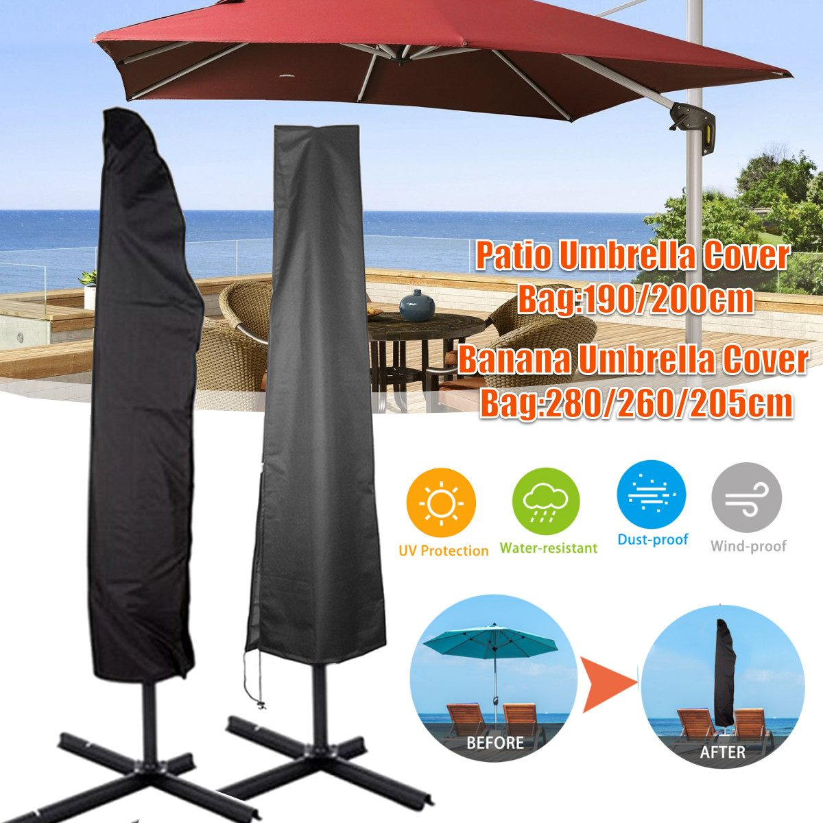 Umbrella Covers Heavy Duty Waterproof Outdoor Patio Parasol Covers with Zipper for Straight Umbrella