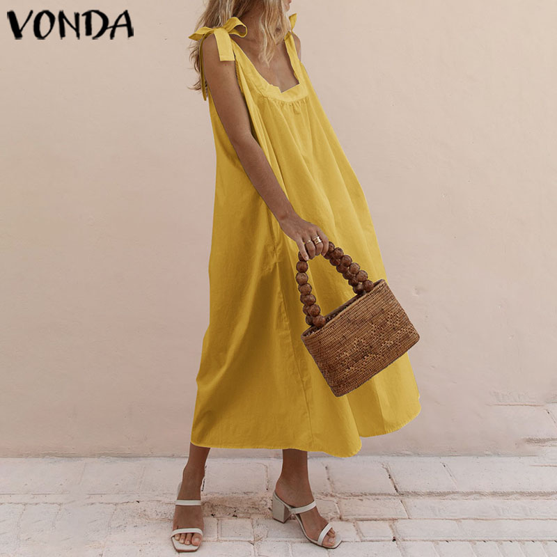 VONDA Sexy Sleeveless Party Dress 2020 Summer Solid Color Bohemian Beach Sundress Plus Size Vintage Vestidos Femme Long Robe