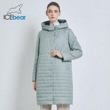 ICEbear 2019 nowa długa damska kurtka jesienny Casual damskie płaszcze z kapturem odzież damska długa kurtka marki z zamkiem błyskawicznym GWC19039I