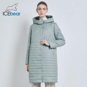 Image 1 - ICEbear 2019 جديد طويل المرأة معطف الخريف معاطف الإناث غير رسمية مقنعين المرأة ملابس طويلة ماركة سترة مع سستة GWC19039I