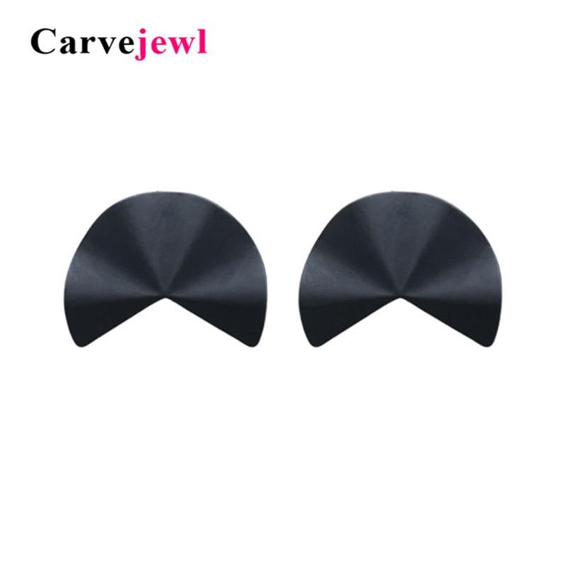 Carvejewl stud earrings irregular leaf for women jewelry matte black silver plating girl gift korean hot