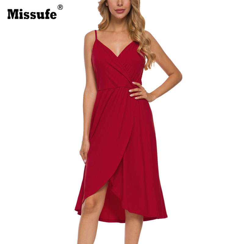 Missufe Summer Sexy Solid Dress Casual  V Neck Vestidos Sling A Line Dresses For Women