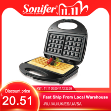 Sonifer máquina eléctrica para hacer Waffles de 750W, máquina para hacer sándwiches de hierro, horno de masa semiesférica, máquina para gofres de desayuno, 220V