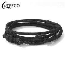 CUTEECO Anchor Bracelet Bangle For Woman Man Pulsera Hot Sell Design Handmade Weave Polyester Material Multilayer