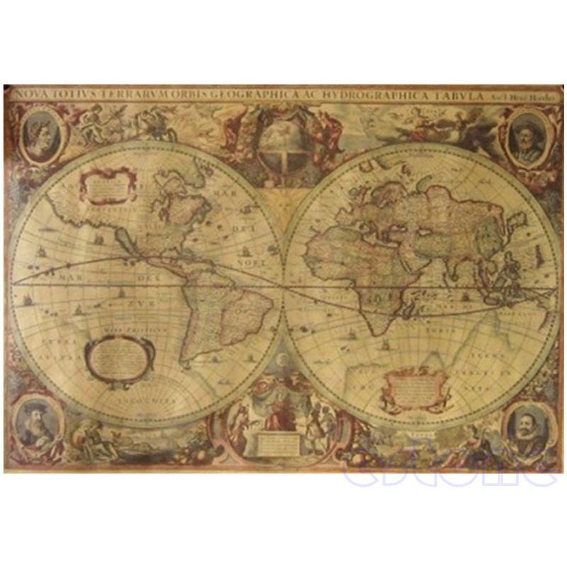 71x50cm Retro Vintage Old Globe World Map Matte Brown Paper Poster Home Decor AXYF