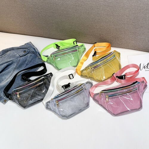 Local Stock Women PVC Grid Style Waist Bag Fanny Pack Bum Bag Travel Mash Purse Waist Bag Transparent Small Belt Bag Cool Packs