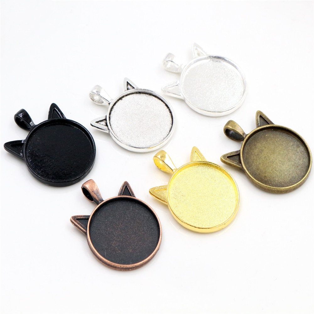New Fashion 5pcs 25mm Inner Size Classic 6 Colors Plated Cat Style Cabochon Base Setting Charms Pendant