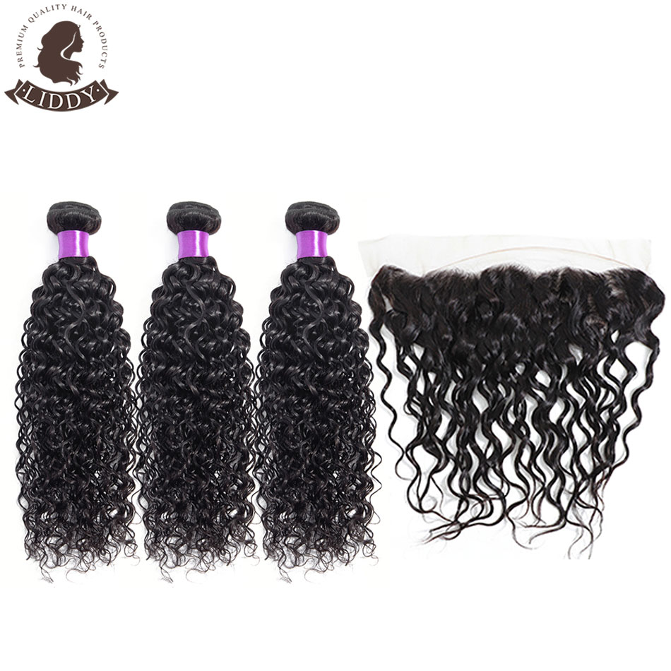 Liddy Water Wave Bundles With Frontal 3 Bundles Peruvian 100% Human Hair Bundles With Lace Frontal 13x4 Free Part Non Remy Hair