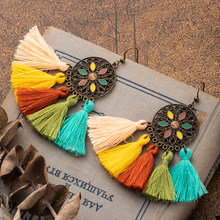 Charming Bohemian Ethnic Colorful Tassel Earrings Drop ear Ornaments For Female Wedding Engagement Bridal Accessories Jewleries(China)