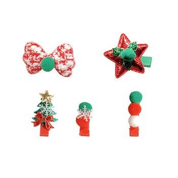 5 Pieces Set Merry Christmas Girls Cute Santa Claus Snowman Hairpin Hair Clip 5