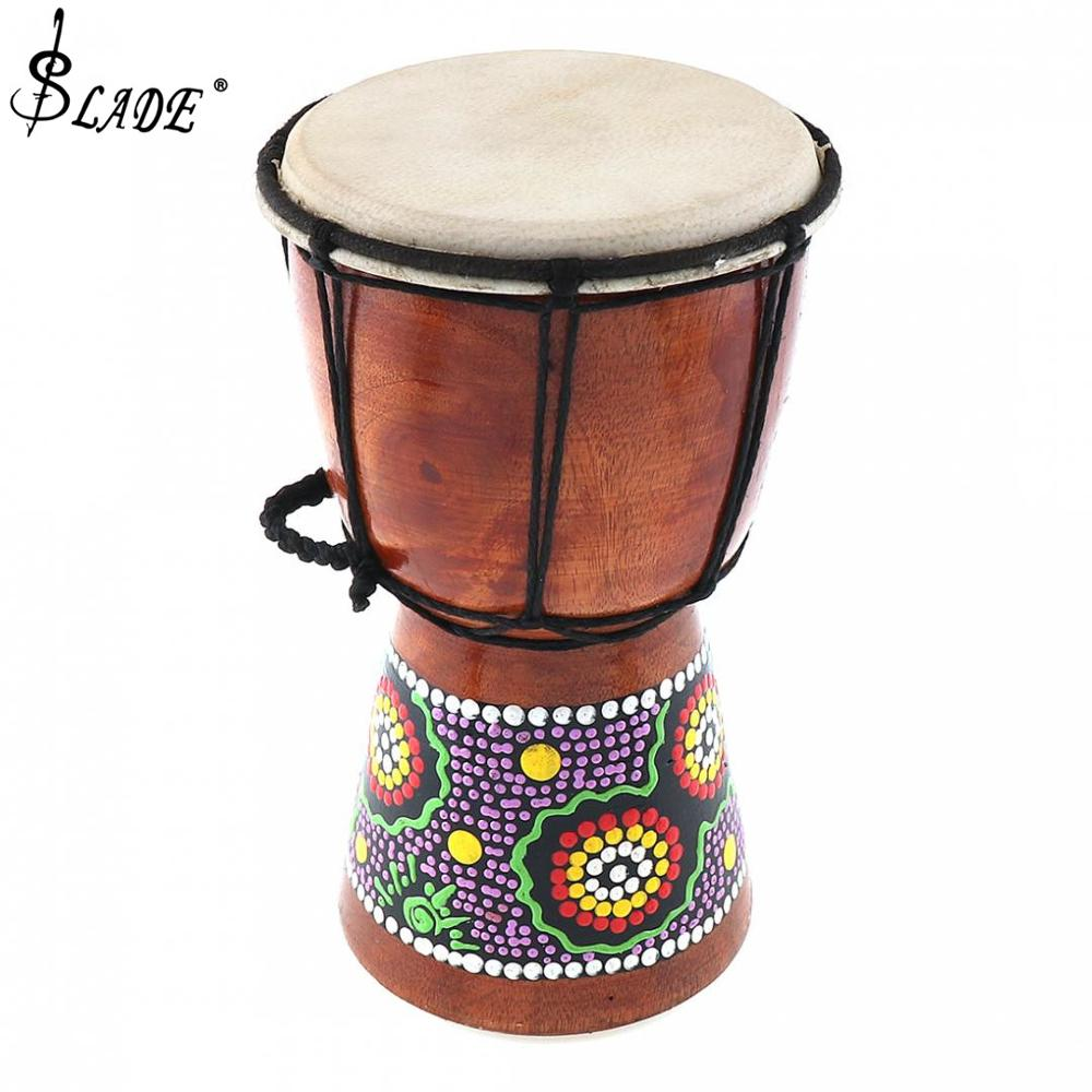 4 Inch Professional Traditional African Djembe Drum Wood Goat Skin Good Sound Musical Instrument