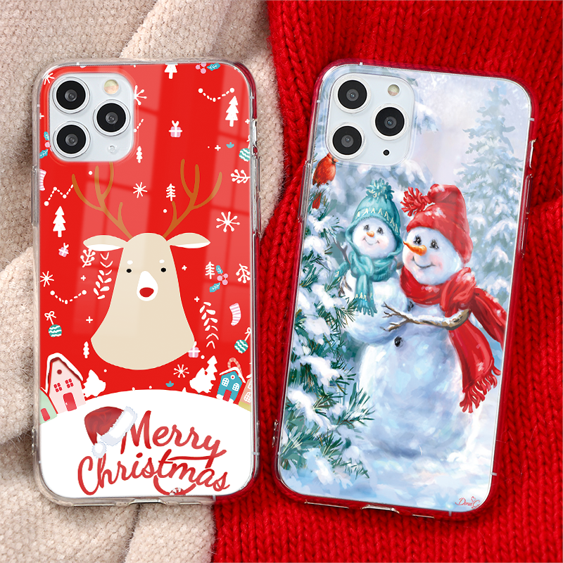 Christmas New Year Gifts Elk Snowman Phone Case For iPhone XR XS X 12 11 PRO MAX 5 6 6S 7 8 Plus SE2 Cover Soft TPU Clear Coque