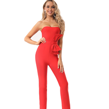 High Quality Summer Fashion Sexy Strapless Backless Bow Tie Red Women Bandage Jumpsuit 2020 Celebrit