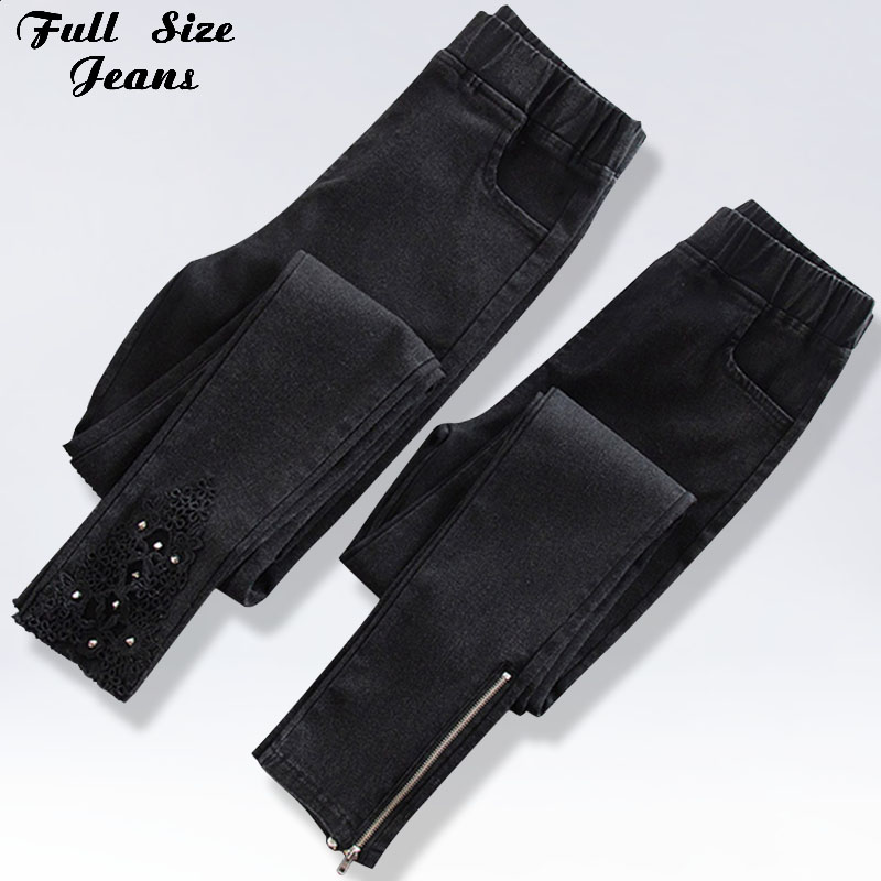 2019 Plus Size Ripped Skinny Pencil Jeans 3XL 4XL Woman Elastic Waist Mom Stretch Jeans Ladies Denim Pants Rhinestone Jean