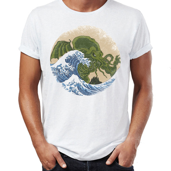 New Men's t-shirt The Great Wave Off R'lyeh Cthulhu Artsy Awesome Artwork Printed Tshirt Harajuku Streetwear Cool Tees Tops image