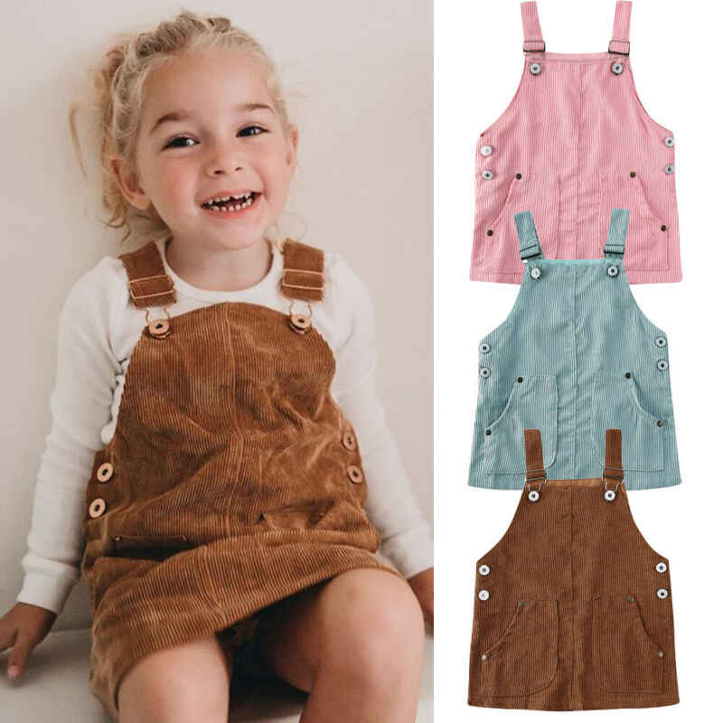2020 Baby Summer Clothing 0-5T Toddler Kids Baby Girl Mini Retro Dress Strap Corduroy Dress Suspenders Solid Overalls