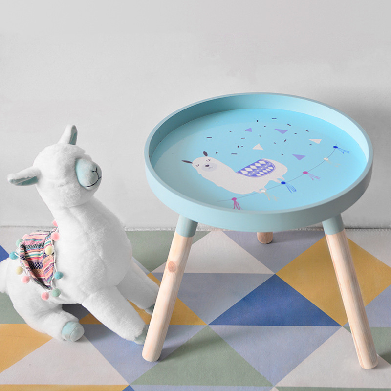 Nordic Alpaka Holz Kaffee Tisch Kleine Sofa Seite Tische Wohnzimmer Tisch Möbel Mini Runde Home Dekoration Moderne Nette