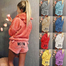 2019 New Women Meow Pattern Hoodie Shorts Set Coral Velvet Suit Two Piece Set Autumn Winter Pajamas Cute Cat Warm Sleepwear(China)