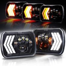 2 pces 55w quadrado 7x6 5x7 Polegada faróis de led para jeep wrangler yj cherokee xj toyota caminhões gmc h6054 h5054 h6054ll