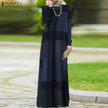 Abaya Maxi-Dress Muslim ZANZEA Kaftan Puff-Sleeve Plaid Vintage Women Autumn Dubai Pirnted