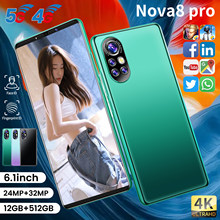 2021 Global Version Nova8 pro Smartphone 12+512GB 6.1Inch Dual SIM Dual Standby Support Face ID 5200mAh 4G 5G Android CellPhone