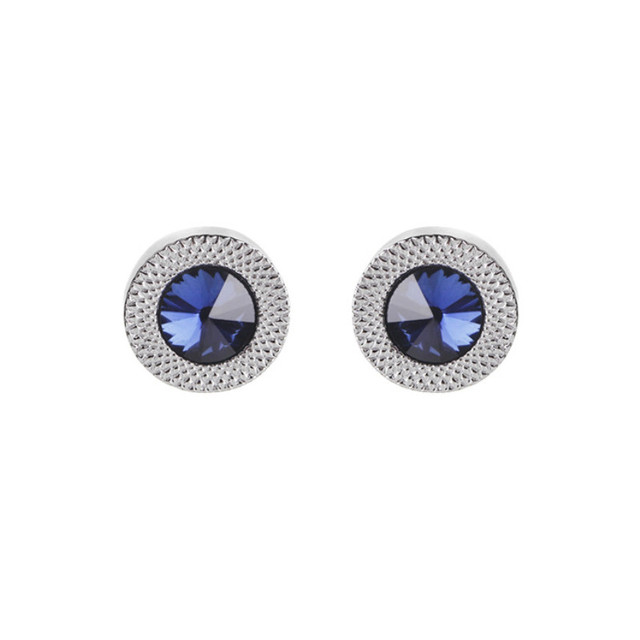 Blue Crystal Cone Cufflinks Men Classic Brand Blue Prismatic Cuff Button Designer High Quality Men's Shirt Taper Cuff Links 2