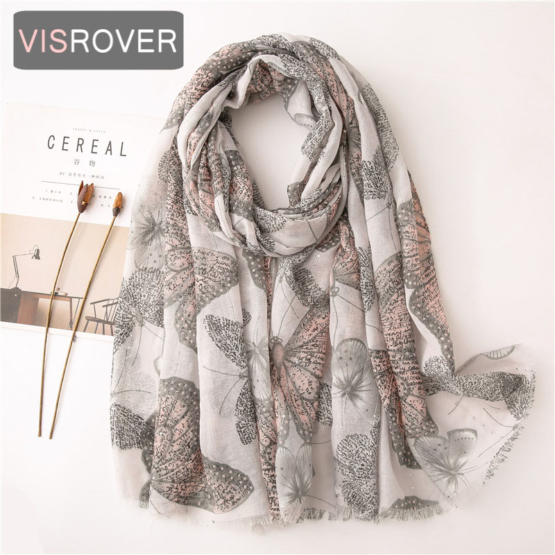 VISROVER 2020 Butterfly Printing Viscose Summer Scarf  With Sequin Fashion Beach Wraps Spring Shawls Hijab Gift Wholesales
